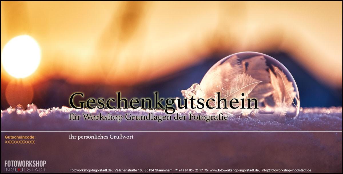 Geschenkgutschien Fotokurs Seifenblase