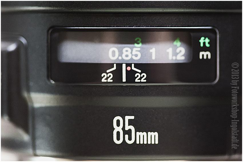 Objektiv Blendenskala Canon EF 85mm 1:1,8 USM