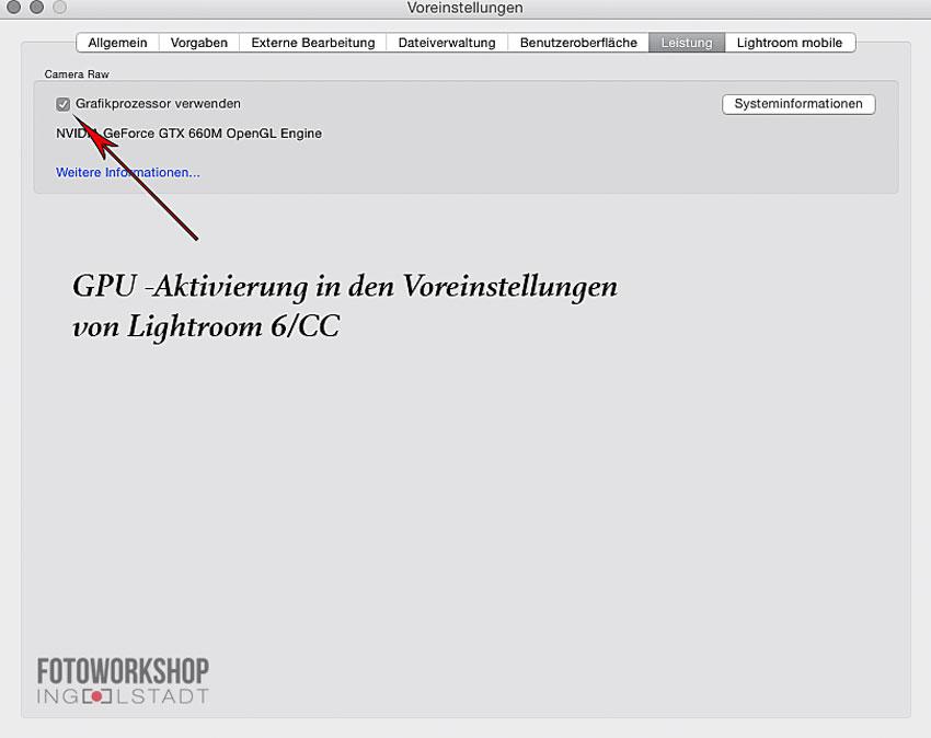 Lightroom 6 GPU Aktivierung