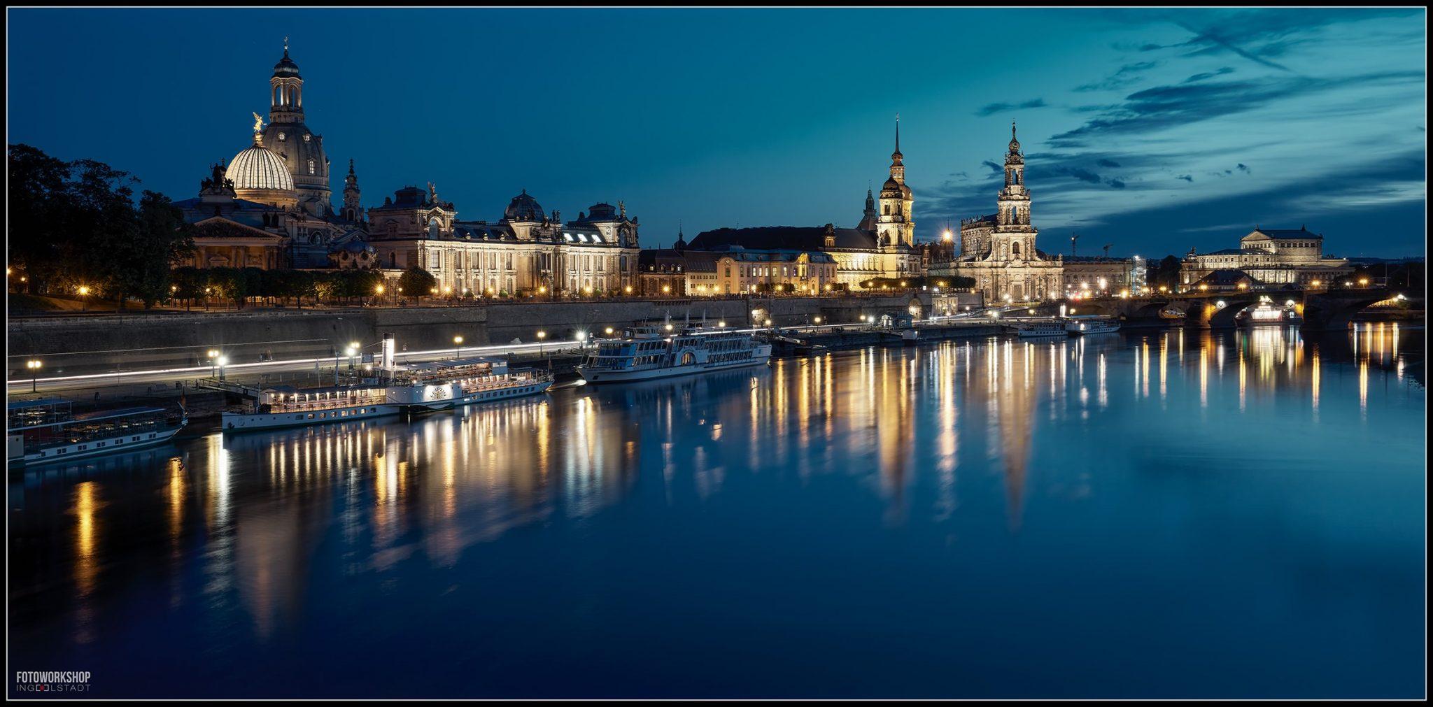 Dresden Elbufer bei Nacht