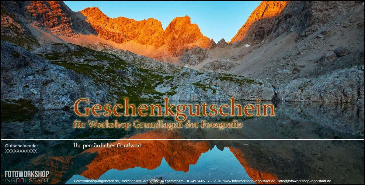 Gutschein Fotoworkshop Bergsee Alpengluehen