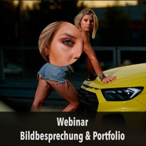 Webinar Bildbesprechung und Portfolio Frau vor Auto Fotoworkshop-Ingolstadt.de Fotograf Thomas Stähler